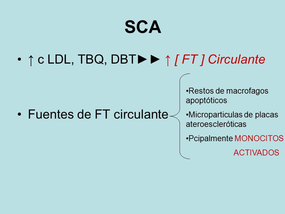 SCA ↑ c LDL, TBQ, DBT►► ↑ [ FT ] Circulante Fuentes de FT circulante